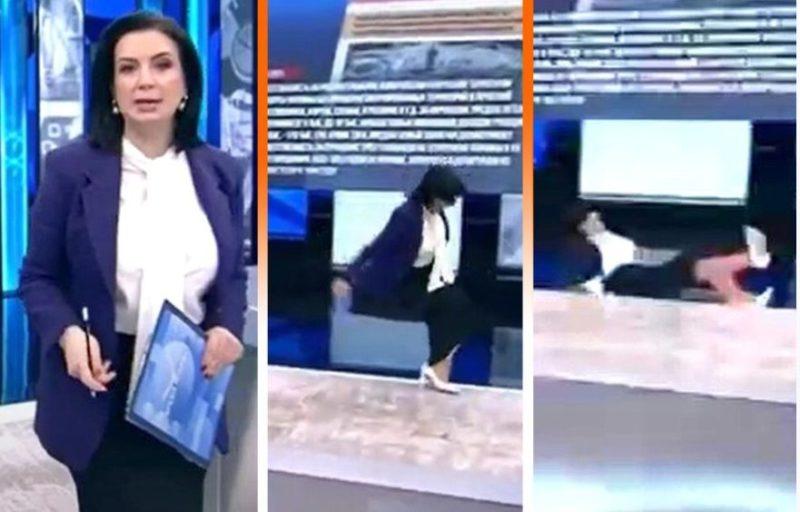 """Телеведущая Екатерина Стриженова оступилась и упала во время программы """"Время покажет"""""""
